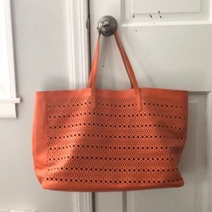 Saks Fifth Avenue Orange Large Shoulder Bag